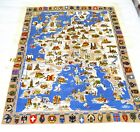VINTAGE TABLECLOTH EUROPE MAP COAT OF ARMS NEW W TAGS KUNSTLERHANDDRUCK GERMAN