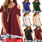 Plus Size Womens Off Cold Shoulder Tops Lace Baggy T-Shirt Blouse Tunic Dress US