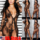 Women Sexy Lace See Through Long Tops Cover Up Lingerie Nightwear Club Dress USA
