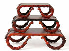 3P Rosewood Stand bamboo glasses style for NetsukeSnuff bottleCarving Display