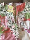Lilly Pulitzer Women Floral Pink Green White Tunic Top With Embellishments Sz 6