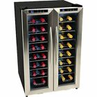 32 Bottle Dual Zone French Door Wine Cooler Stainless Steel Compact Refrigerator