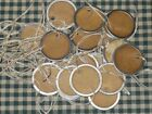 50 SMALL ROUND Metal Rim PRICE GIFT pRiMiTiVe Hang Tags rustic LOT A57