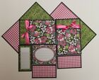 Premade GIRL PINK BLACK GREEN LOT 4 SEWN Scrapbook Page Mat Set 10 pieces