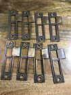 6 Available - 2 Sided Antique Brass Strike Plate Hardware Collectible