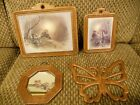 LOT of 4 Vintage Wood Wooden Wall Pictures Plaques