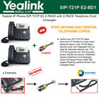 Yealink SIP-T21P E2 IPPhone 2PACK 2Lines PoE with 2PACK Telephone Cord Untangler