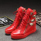 Womens Sneakers Shoes Wedge Heel Zip Lace Up Leather Boots High Top Metal 01