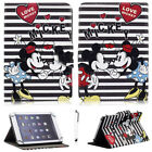 "For 7""-10.1"" Tablet Stripe Mickey Minnie Printed Universal PU Leather Case Cover"