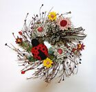 HANDMADE PRIMITIVE COUNTRY PIP BERRY-LADYBUG-FLOWERS-WREATH-by lavender-n-aqua