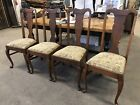 Antique Wood Queen Anne Dining Chairs Upholstered Dining Chairs