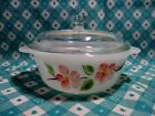 Vintage Fire King 1 Pt. Peach Blossom Casserole Dish with Lid in Excellent Cond.