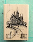 HAUNTED MANSION HOUSE on HILL w PATHWAY  FULL MOON  HALLOWEEN Rubber Stamp