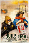 Vintage French Sports Car Huille Rigal Motor Rally Race Car Poster Reprint A4