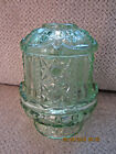 Chantilly green Indiana glass fairy lamp Stars and Bars pattern 7' tall