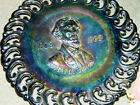 Vintage LE SMITH BLACK AMETHYST CARNIVAL GLASS JEFFERSON DAVIS PLATE with TAG
