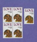 2202 LOVE 4 STAMP BLK + 1 SINGLE MNH FV 110 CAT 275