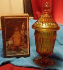 Vintage Indiana Glass Amber  Mount Vernon Covered Candy Dish NEW IN BOX