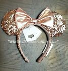 Disney Parks Rose Gold Minnie Mouse Bow Sequins Ear Headband NEW