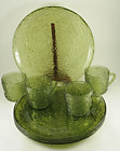 Vintage Anchor Hocking Soreno Avacado Green 8 Pc Snack Set Plates