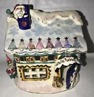 Blue Sky Clayworks White Rabbit Toy Store Christms Tealight Candle Holder House