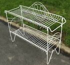 Vintage Art Deco Mid Century 1950s White Iron/Metal 2 Shelf Patio Plant Stand