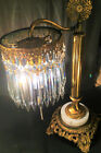 FINE ANTIQUE FRENCH GILT VICTORIAN TABLE LAMP W/ 5
