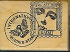 STAMP FRANCISCO Rubber Stamp WOMAN FACE MAIL ART COLLAGE Postage Postoid