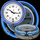 14 Inch Double Ring Neon Clock Blue Outer Ring White Inner Ring Pull Chain