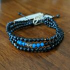 CHAN LUU EFI Three Strand Adjustable Bracelet in blue/black