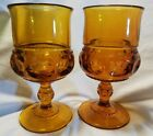 Vintage Set of 2 Amber Indiana Glass Company Kings Crown Thumbprint Wine Goblet