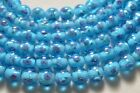 Handcrafted Blue Sphere Lampwork Glass Bead 8mm 10 pieces Flower LW122