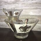 Vintage Mid Century Anchor Hocking Chip and Dip Bowl Set with Gold Fleur de Lis