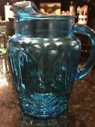 Vintage MCM Anchor Hocking Colonial Tulip 2 Qt Blue Water Pitcher w/ Ice Lip