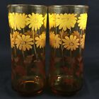 Set 2 Vintage Drinking Glasses Amber Gold Daisy Libbey 6 1/2