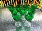 Vtg Set of 12 Forest Green Bubble Footed Anchor Hocking Water Goblet Glasses