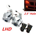 25 HID Bi Xenon Projector Lens Headlight Red Angel Eye Halo Ring for H1 H4 H7