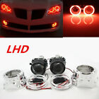 25 RED Halo Ring Angel Eye Bi Xenon HID Car Projector Headlight Lens Kit LHD