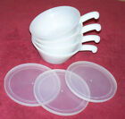 4 White Milk Glass Anchor Hocking Fire King soup chili Bowls w/ handles
