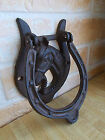 5Cast Iron Vintage HORSE HEAD Door Knocker Rustic Western Cowboy HORSESHOE