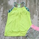 Ivivva DOUBLE DTUCH Bright Yellow Floral Layer Athletic Tank Top Shirt Size 14