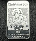 1983 Christmas Joy Nativity Scene 1 Troy oz 999 Silver Bar National 7325