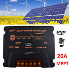 20A MPPT Solar Panel Charge Controller 12V 24V Battery Regulator With USB Output