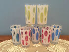 Lot of 7 Mid Century Pastel Coin Spot Drinking Glasses Tumblers Glassware