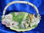 RARE Fitz & Floyd Halcyon Easter Bunny Rabbit in Floral Basket Dish Mint VT2152