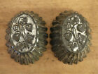 PAIR Antique PRIM Tin STRAWBERRY VINE Fluted Edges Food Form Molds HEART Tinware