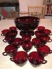 Vintage Royal Ruby Red Anchor Hocking Punch Bowl with Stand and 16 Cups
