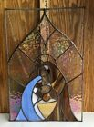 Vintage Stained Glass Iridescent Wall Hanging Nativity Signed