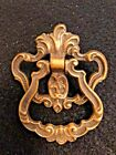 GREAT PATINA Single Hinged DRAWER PULL Vintage ART NOUVEAU Ornate BRASS 4699