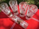 Vintage Libby Calvacade Tom Collins Frosted Glasses  X5 Pattern Horses